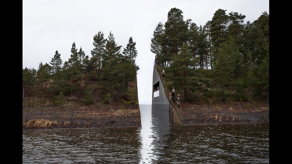 Det planerade Utøyamonumentet. Foto: Jonas Dahlberg Studio/Scanpix.