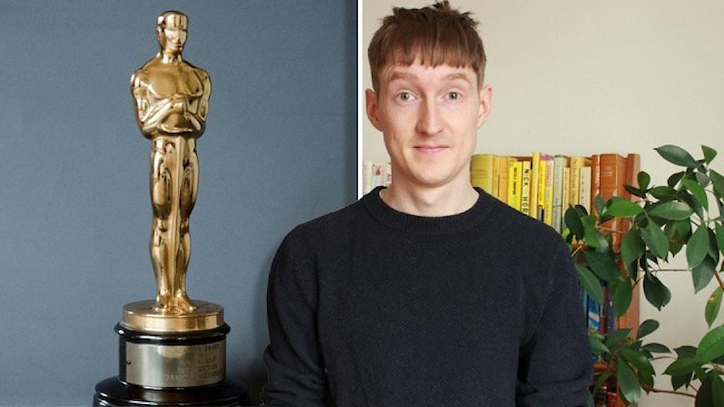 Oscarsstatyetten (en guldfärgad, slank människa) mot en blå bakgrund och en annan bild på Kulturnytts Joakim Silverdal.