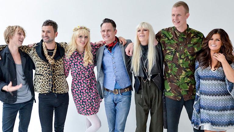 Love Antell, Ola Salo, Amanda Jenssen, Orup, Kajsa Grytt, Johan T Karlsson & Carola. Foto: Henrik Montgomery/TT