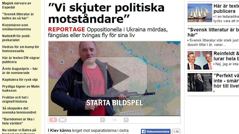 Skärmdump från Aftonbladet Kultur.