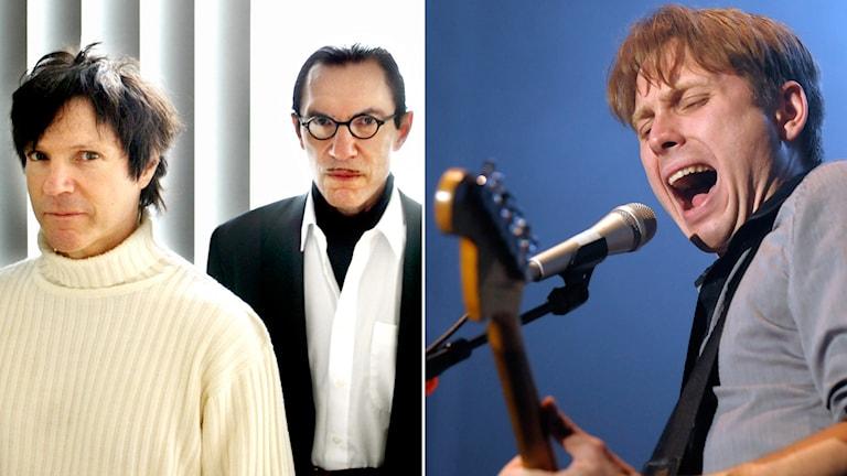 Russel och Ron Mael, alias Sparks, och Franz Ferdinands sångare Alex Kapranos. Foto: AP/Pontus Lundahl/TT