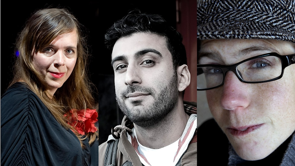 Tilde Björfors, Behrang Miri och Stina Oscarsson ingår i MP:s kulturpolitiska arbetsgrupp. Foto: Wiklund/Morales/Larsson Ask/TT