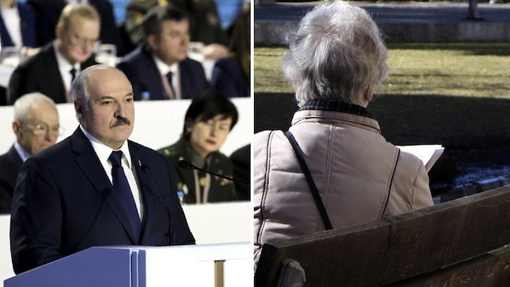 Belarus diktator Aleksandr Lukasjenko och en äldre kvinna som läser en bok.