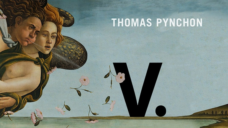 """En del av framsidan till romanen """"V"""" av Thomas Pynchon."""