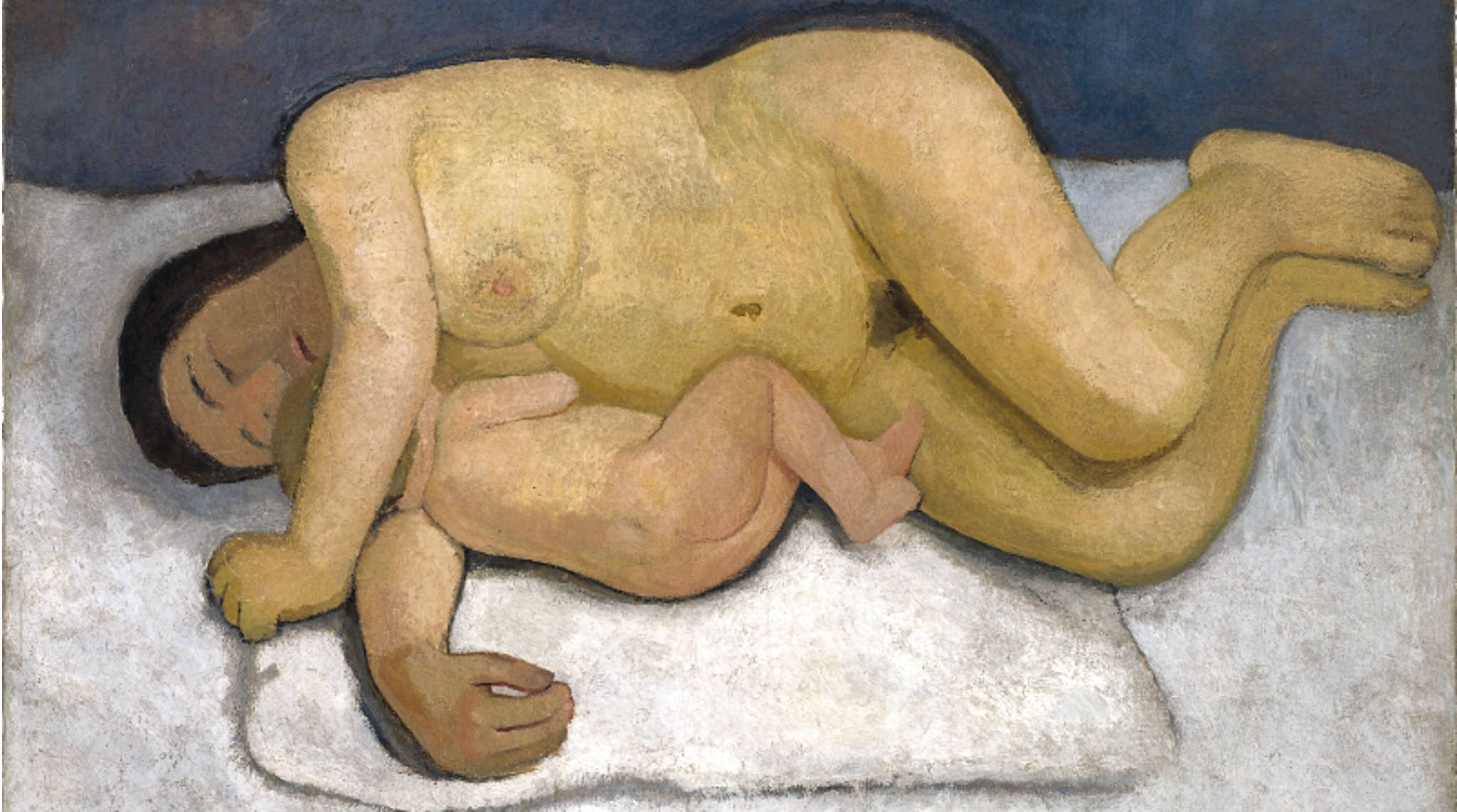 Liggande kvinna med barn av Paula Modersohn-Becker