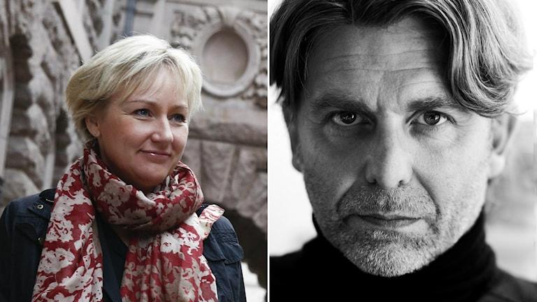 Helene Hellmark Knutsson, minister för högre utbildning, och Ulf Dalnäs, kanslichef konstnärliga fakulteten på Göteborgs universitet. Foto: TT/Ines Sebalj