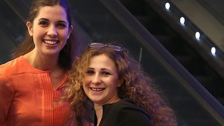 Pussy Riots Nadezjda Tolokonnikova och Maria Aljochina. Foto: AP/TT