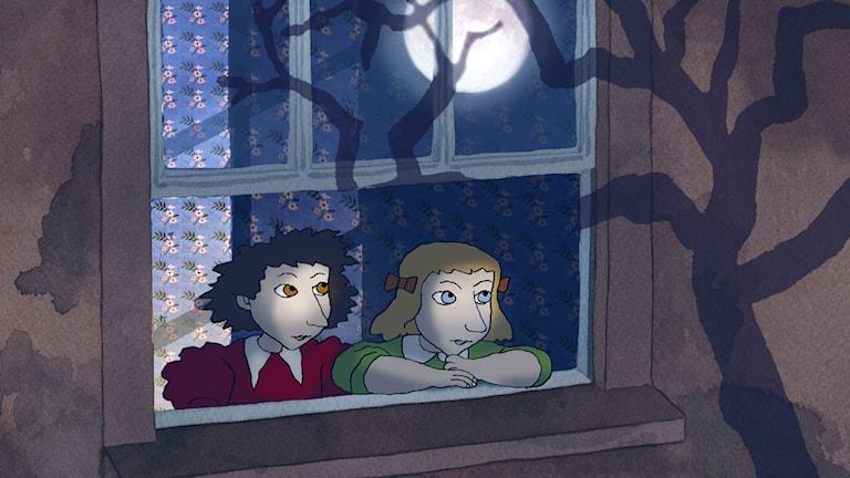"""Dina och Dorinda i """"Det blåser på månen"""" av Per Åhlinl. Foto: PennFilm Studio"""