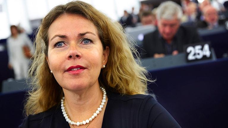 Cecilia Wikström (FP) i EU-parlamentet i Strasbourg. Foto: Fredrik Persson/TT