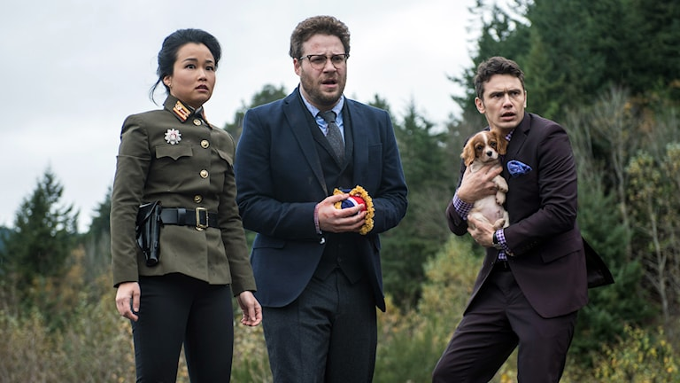 Diana Bang, Seth Rogen, och James Franco är med i filmen The Interview. Foto: TT