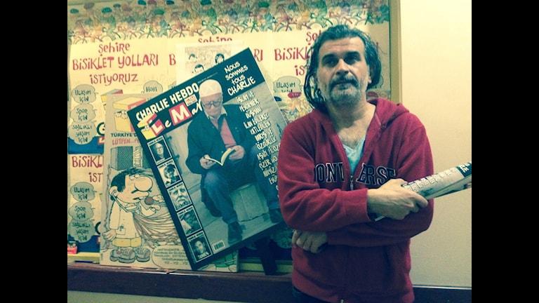 Zafer Aknay, redaktör för turkiska satirtidningen Leman. Foto: Tomas Thorén