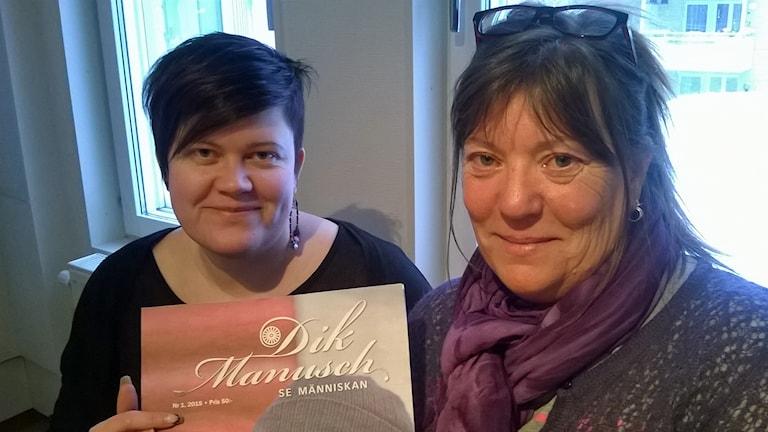 Helen Hugosson och Britt-Inger Lundqvist, Dik Manusch. Foto: Åza Meijer, Sveriges Radio.