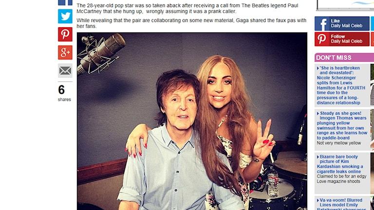 Lady Gaga och Paul McCartney på Instagram. Foto: Skärmdump från Mail Online