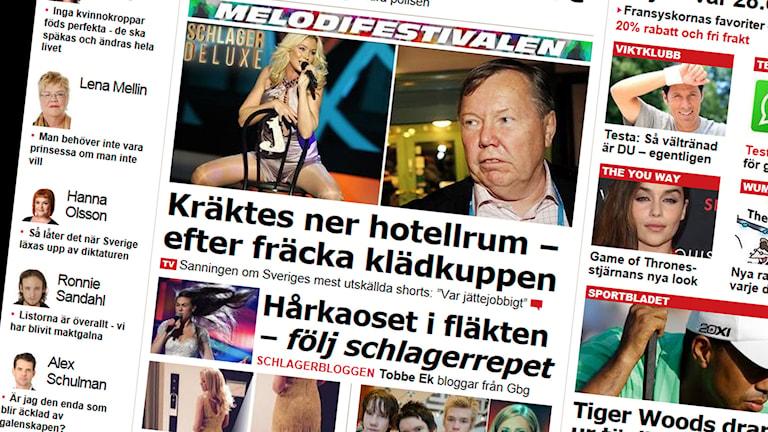 Aftonbladet bevakar Melodifestivalen med ett helt reporterteam. Foto: Skärmdump aftonbladet.se