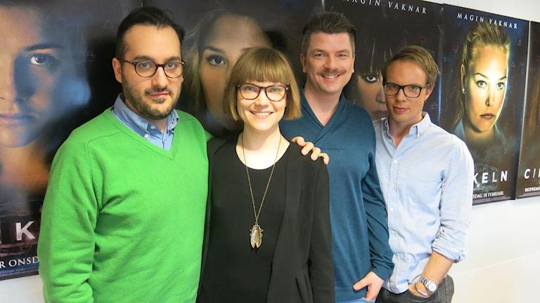 Regissör Levan Akin, författarna Sara Bergmark Elfgren och Mats Strandberg, och producent Ludvig Andersson. Foto: Björn Jansson/SR.