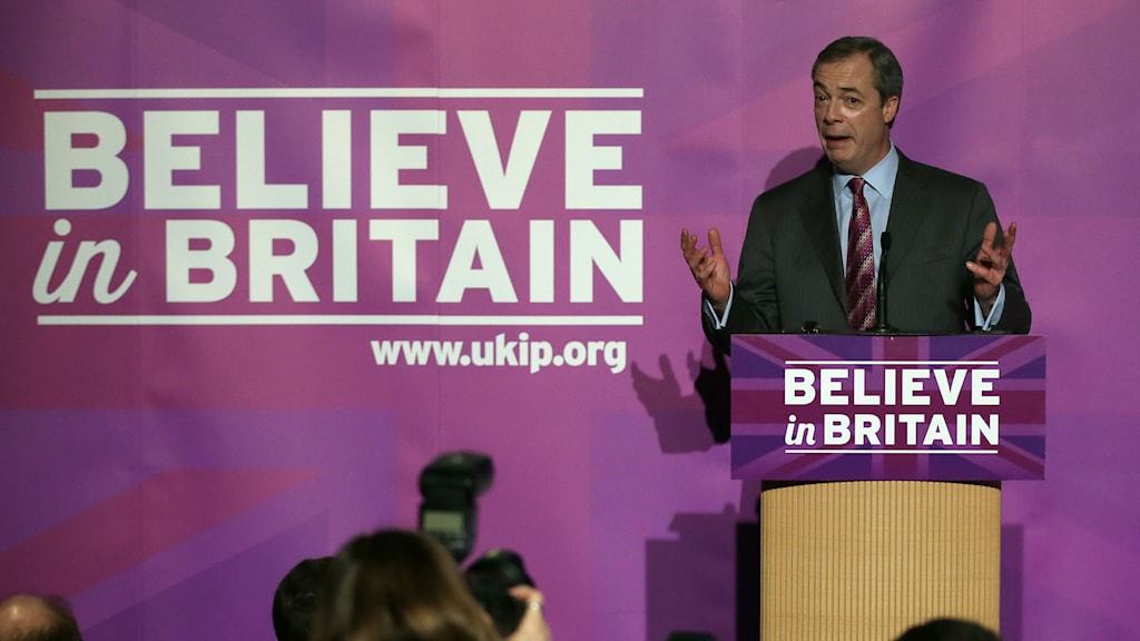 Ukips partiledare Nigel Farage. Foto: TT.