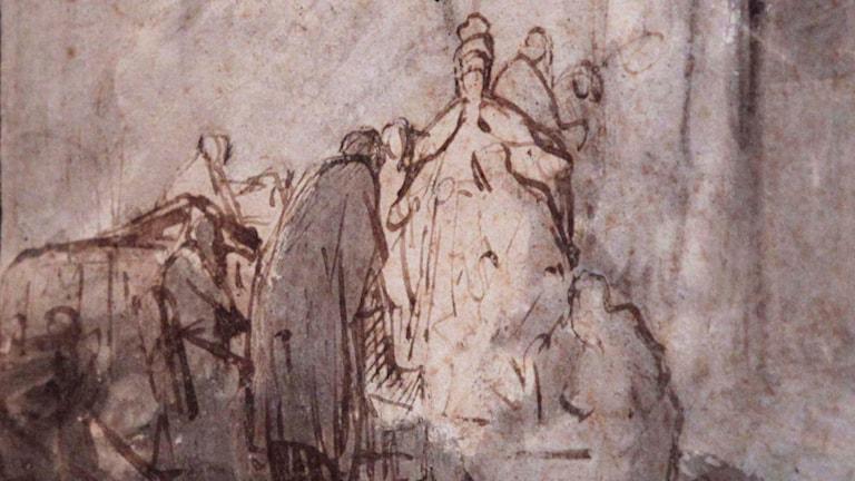 "Rembrandt Harmensz van Rijns tavla ""Judas Returning the Thirty Pieces of Silver"". Foto: AP Photo/Lefteris Pitarakis/TT"