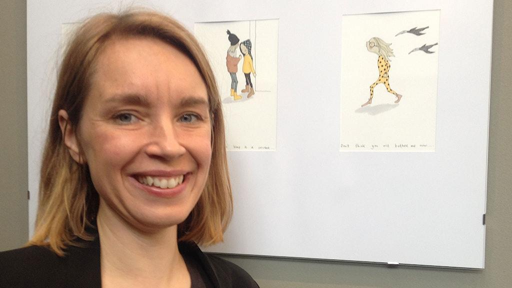 Karin Eklund på Barnboksmässan i Bologna. Foto: Lisa Bergström/SR