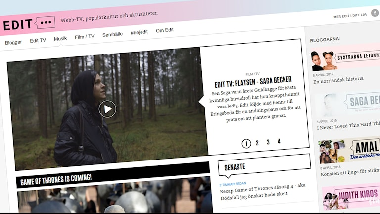 SVT-sajten Edit.se. Foto: Skärmdump