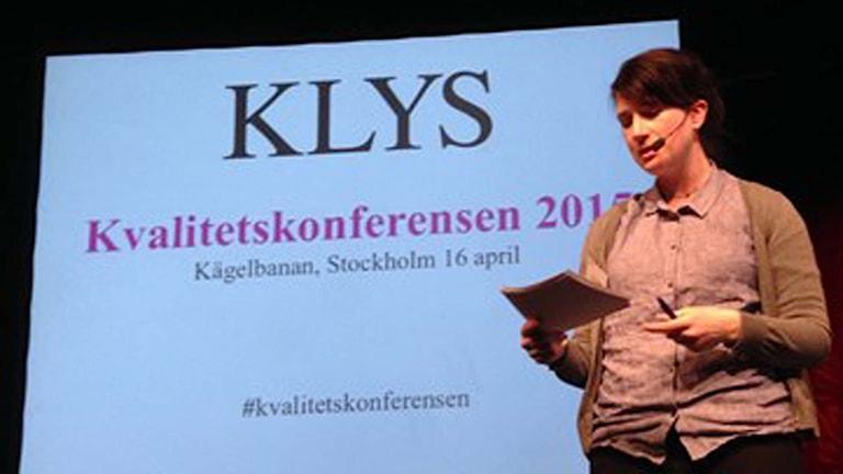 Forskaren Linnéa Lindsköld på dagens Klys-konferens Foto: Berit Nygren/SR