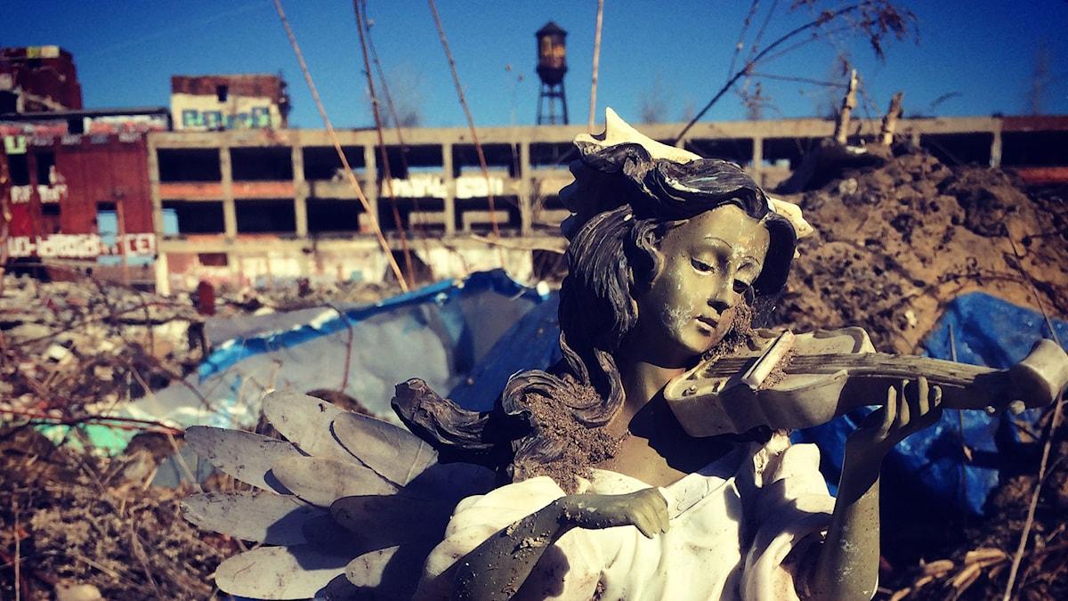 En gång världens modernaste bilfabrik; Packard Automotive Plant, Detroit, USA. Fabrikskomplexet stängde 1958. BILD: Anna Tullberg/SR