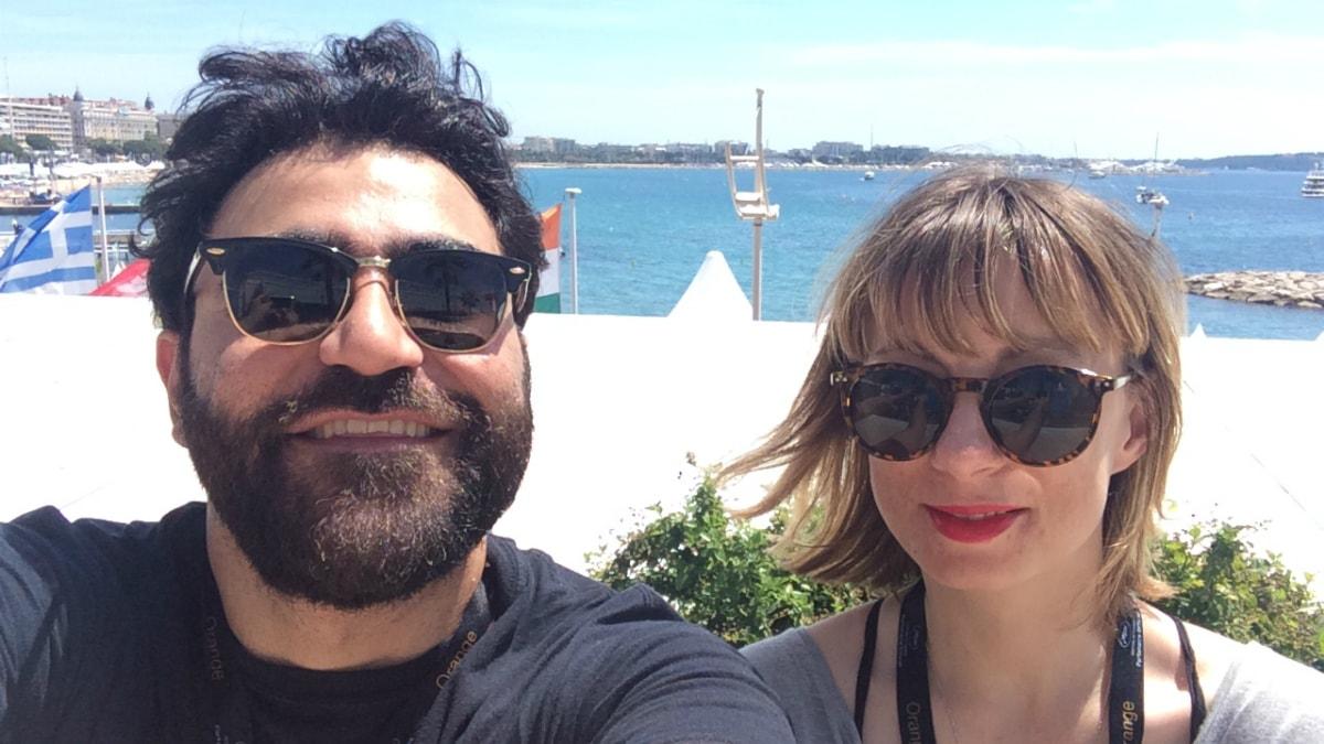 Saman Bakhtiari och Lisa Bergström på plats i Cannes. Foto: Saman Bakhtiari / Sveriges Radio.