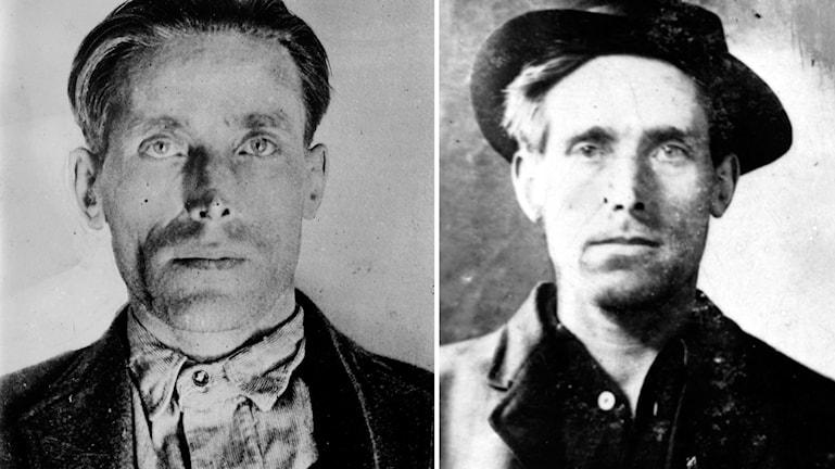 """Till Vänster: Joe Hill 1914–1915, """"mugshot"""". Källa: Okänd Till höger: Joe Hill 1914. Källa: J. Willard Marriott Library, University of Utah."""