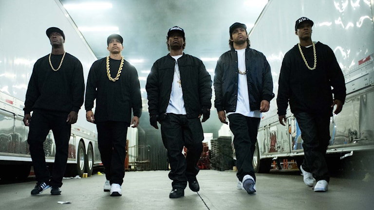 "NWA i filmen ""Straight Outta Compton"". Foto: Jaimie Trueblood/Universal Pictures via AP"