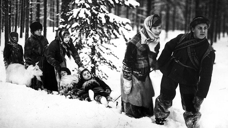 Scen ur den svenska filmen Barnen från Frostmofjället, från 1945. Foto: TT.