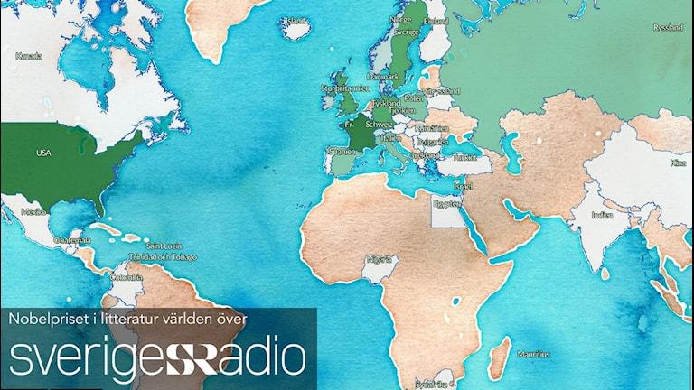 Karta: Nobelpris i litteratur världen över