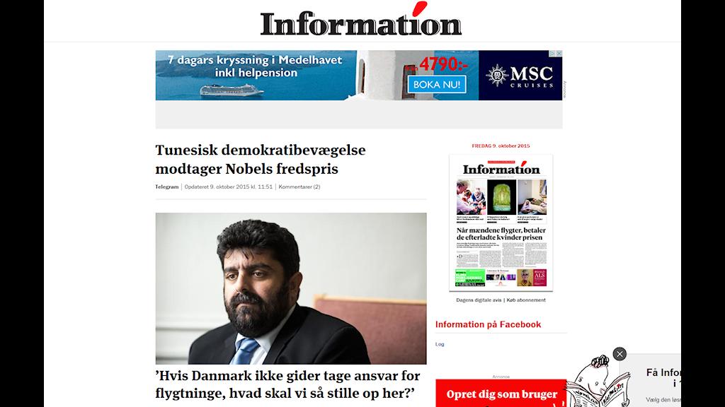 Skärmdump Information.dk