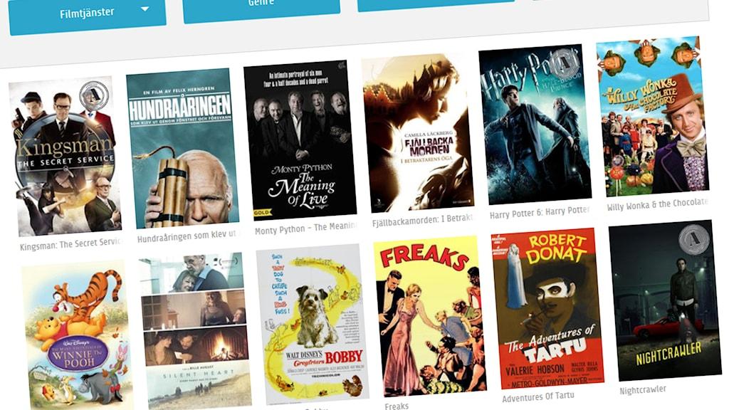 Skärmdump från den digitala filmsöktjänsten Vodeville.