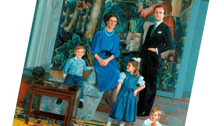 Utsnitt av John-E Franzéns porträtt av kungafamiljen 1984-85. Bild: Stene Projects Stockholm