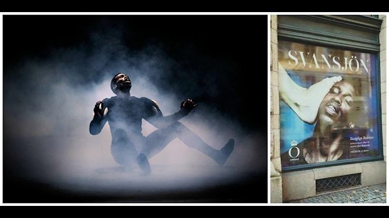 En affisch med en av huvudrollsinnehavarna i Kungliga operans uppsättning av Svansjön har orsakat debatt. Foto:  Carl Thorborg och Lisa Wall