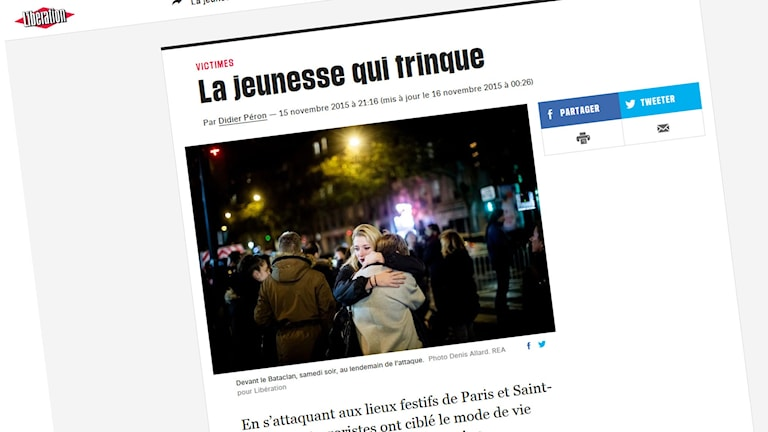 Skärmdump av Didier Perons artikel i Libération: www.liberation.fr