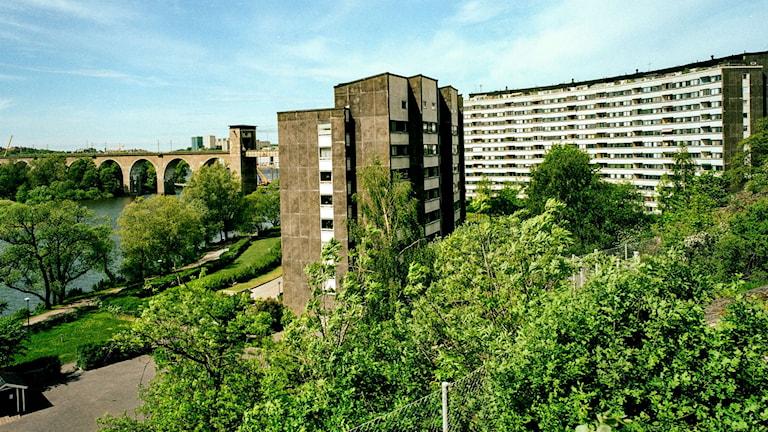 De bågformade bostadshusen i Tanto på Södermalm i Stockholm byggdes 1966. Foto: Tove Falk Olsson (bilden är beskuren)