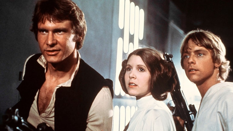 "Harrison Ford, Carrie Fisher och Mark Hamill i ""Star Wars IV - A New Hope"" från 1977."
