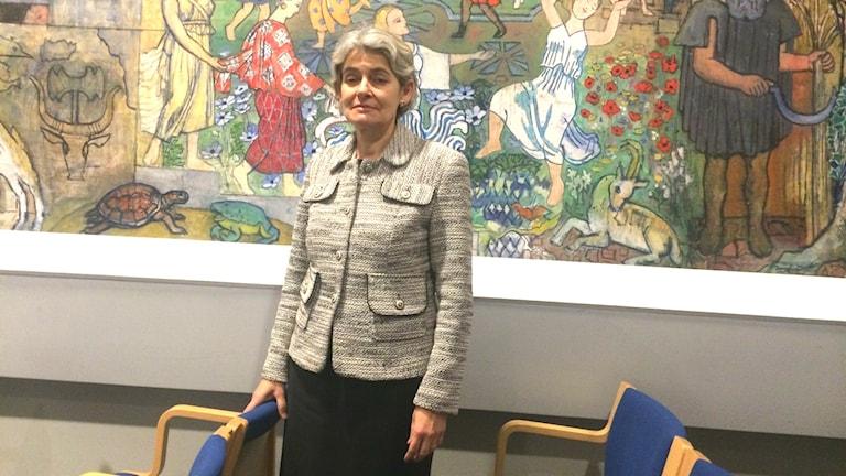 Irina Bokova, Ordförande i Unesco, under gårdagens konferens på Medelhavsmuseet i Stockholm. Foto: Mattias Berg/Sveriges Radio