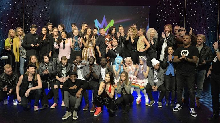 2016 års artister i Melodifestivalen. Foto: Jonas Ekströmer / TT