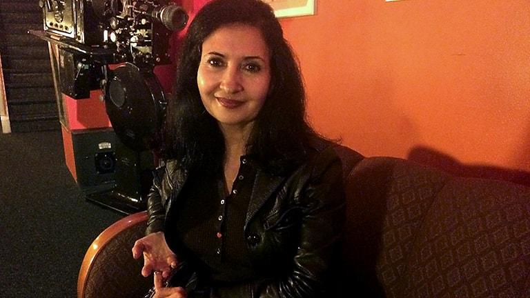 Jemens första kvinnliga filmmakare Kahdija al-Salami på Sverigebesök i Malmö under hösten. Foto: Mina Benaissa/SR