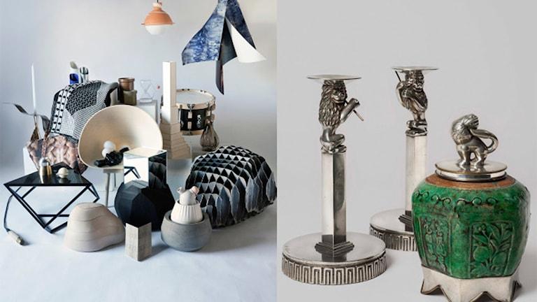 Pressbild: Gruppbild med föremål från Den Nya Kartan; Anna Petrus, Ljusstakar med flöjtspelande lejon, 1923-24 samt Teburk med lock.
