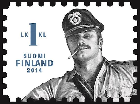 Tom of Finland-motiv på frimärke. Foto: Finska postverket
