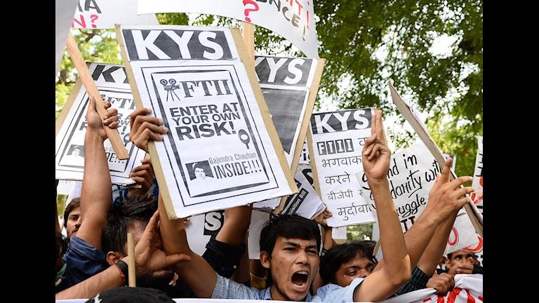 Studentprotest på Film and Television Institute of India. Foto: SAJJAD HUSSAIN/AFP