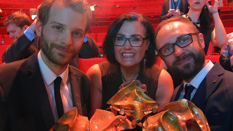 Regissör Magnus von Horn och producenterna Madeleine Ekman och Mariusz Wlodarski, Efterskalv. Foto: Björn Jansson/Sveriges Radio.