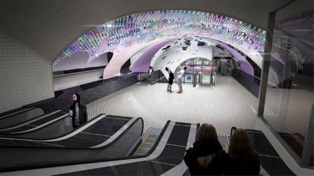 """Från presentationen av """"Snäckan"""", tunnelbaneutsmyckning av Åsa Jungnelius."""