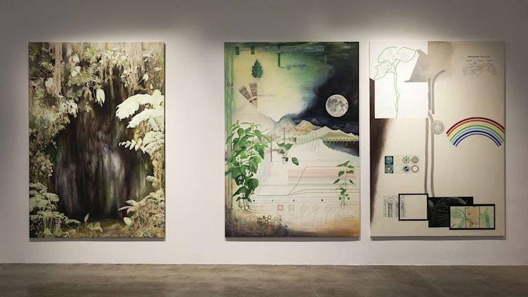 Mitten och vänster Plant perception 1 och 2 av Christine Ödlund på Magasin III