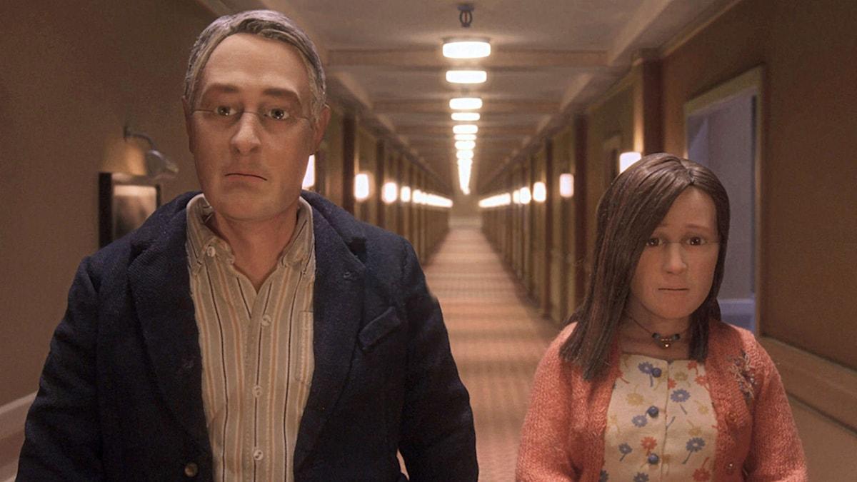 Kundservicegurun Michael Stone och telefonförsäljerskan Lisa i Charlie Kaufmans Anomalisa. Foto: Universal Pictures
