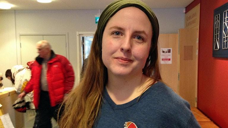 Stina Stoor på samiska litteraturdagarna i Jokkmokk. Foto SR/Helene Alm.