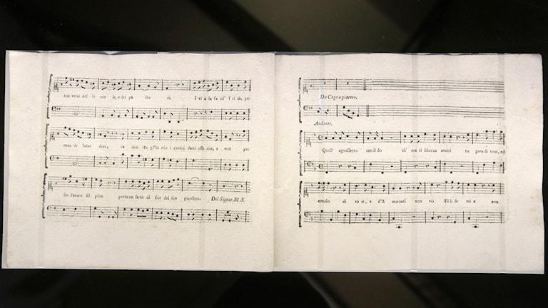 Partituret till det stycke som Mozart och Salieri skrev gemensamt.