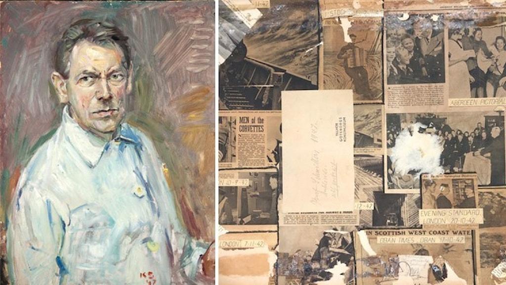 Självporträtt av Kurt Schwitters och ett kollage som hittades på baksidan.